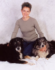 owner with her two dogs